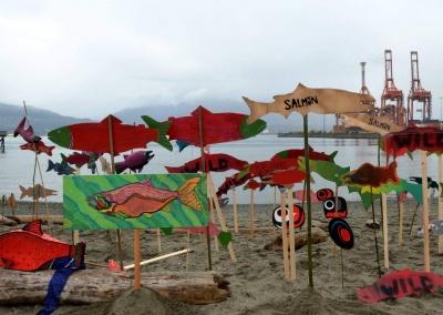 Murray Bush_salmon art at Crab Park at Vancouver event